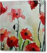 Poppies Meadow - Abstract Acrylic Print by Ismeta Gruenwald