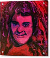 Portrait Of Jenny Friedman Who Never Gave Up. Figure Portrait In Pink Purple And Blue Downs Syndrome Acrylic Print by MendyZ M Zimmerman