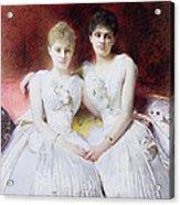 Portrait Of Marthe And Terese Galoppe Acrylic Print by Leon Joseph Bonnat