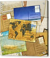 Postcard And Old Papers Acrylic Print by Setsiri Silapasuwanchai