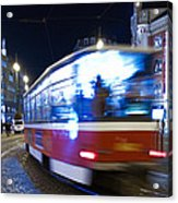 Prague Tram Acrylic Print by Stelios Kleanthous