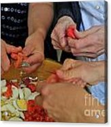 Preparing Salad Acrylic Print by Sami Sarkis