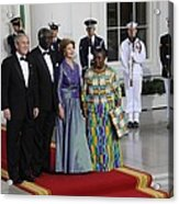 President And Laura Bush Welcome Ghanas Acrylic Print by Everett