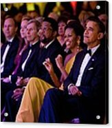 President And Michelle Obama Listen Acrylic Print by Everett