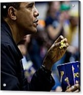 President Barack Obama Eats Popcorn Acrylic Print by Everett