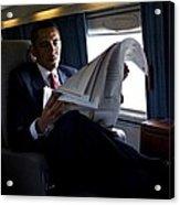 President Barack Obama Reading Acrylic Print by Everett