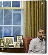 President Barack Obama Talks Acrylic Print by Everett