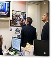 President Barack Obama Watches Msnbc Acrylic Print by Everett