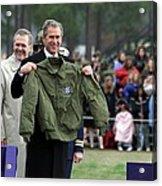 President Bush Displays A Jacket Given Acrylic Print by Everett