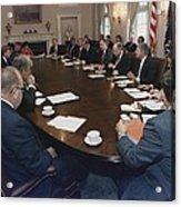 President George Bush Conducts A Full Acrylic Print by Everett