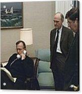 President George Bush In A Telephone Acrylic Print by Everett