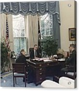 President George Bush Meets With Keys Acrylic Print by Everett