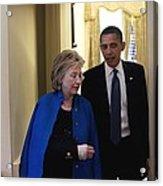 President Obama And Hillary Clinton Acrylic Print by Everett