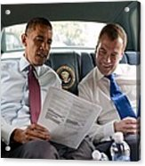 President Obama And Russian President Acrylic Print by Everett