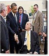 President Obama Greets James Brady Acrylic Print by Everett