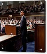 President Obama Is Applauded Acrylic Print by Everett