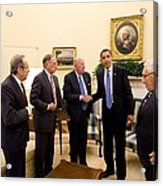 President Obama Meets With Former Acrylic Print by Everett