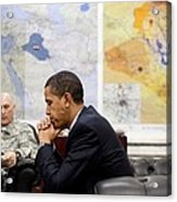 President Obama Meets With Gen. Raymond Acrylic Print by Everett