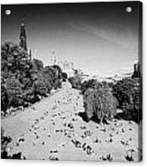 Princes Street Gardens On A Hot Summers Day In Edinburgh Scotland Uk United Kingdom Acrylic Print by Joe Fox