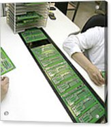 Printed Circuit Board Assembly Work Acrylic Print by Ria Novosti