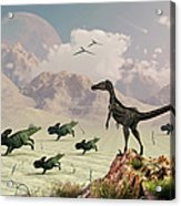 Protoceratops Stampede In Fear Acrylic Print by Mark Stevenson
