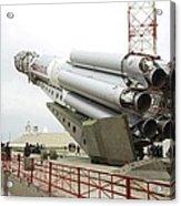 Proton-m Rocket Before Launch Acrylic Print by Ria Novosti