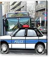 Proud Police Car In The City  Acrylic Print by Elaine Plesser