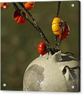 Pumpkin On A Stick In An Old Primitive Moonshine Jug Acrylic Print by Kathy Clark