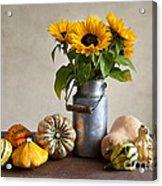 Pumpkins And Sunflowers Acrylic Print by Nailia Schwarz