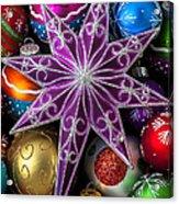 Purple Christmas Star Acrylic Print by Garry Gay