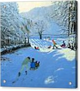 Pushing The Sledge Acrylic Print by Andrew Macara