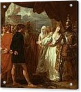 Queen Philippa Interceding For The Lives Of The Burghers Of Calais Acrylic Print by Benjamin West
