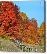 Rail Fence In Fall Acrylic Print by Peg Runyan