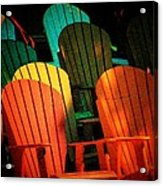 Rainbow Chairs Acrylic Print by Joyce Kimble Smith