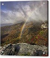 Rainbow Over Rough Ridge - Nc Autumn Scene Acrylic Print by Rob Travis