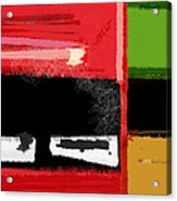 Red And Green Square Acrylic Print by Naxart Studio