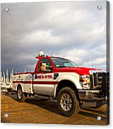 Red And White Harbor Patrol Vehicle Acrylic Print by David Buffington