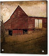 Red Barn In The Evening Acrylic Print by Kathy Jennings