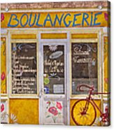 Red Bike At The Boulangerie Acrylic Print by Debra and Dave Vanderlaan