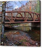 Red Bridge Acrylic Print by Debra and Dave Vanderlaan
