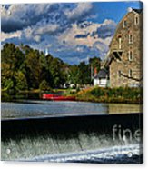 Red Canoes At The Boathouse Acrylic Print by Paul Ward