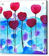 Red Flowers Watercolor Painting Acrylic Print by Karen Pappert