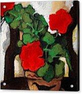 Red Geranium Acrylic Print by Mona Edulesco