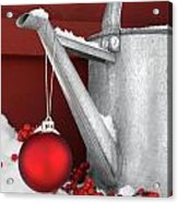 Red Ornament On Watering Can Acrylic Print by Sandra Cunningham