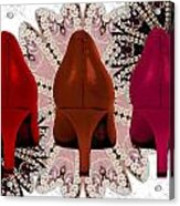 Red Shoes In Shades Of Red Acrylic Print by Maralaina Holliday