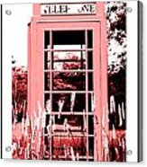 Red Telephone Booth In A Field In Maine Acrylic Print by Kara Ray