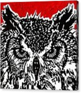 Redder Hotter Eagle Owl Acrylic Print by Julia Forsyth