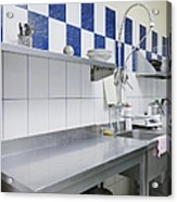 Restaurant Kitchen Sink And Counters Acrylic Print by Magomed Magomedagaev