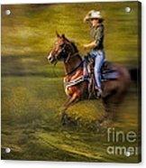 Riding Thru The Meadow Acrylic Print by Susan Candelario