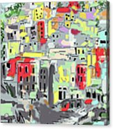 Riomaggiore Italy Moucasso Painting Acrylic Print by Ginette Callaway